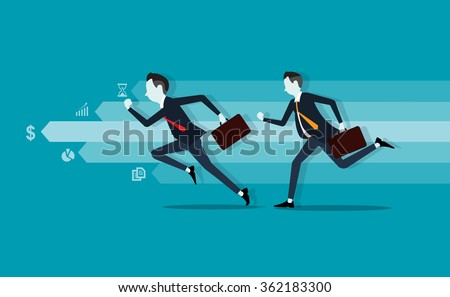 two business man. competitive . info graph.fast business.business leader - stock vector