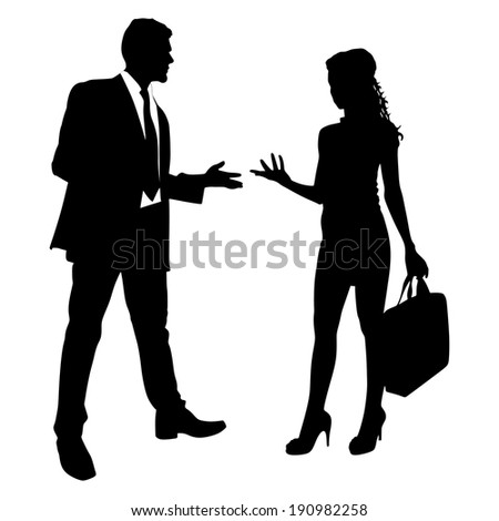 two business people having a conversation, vector - stock vector