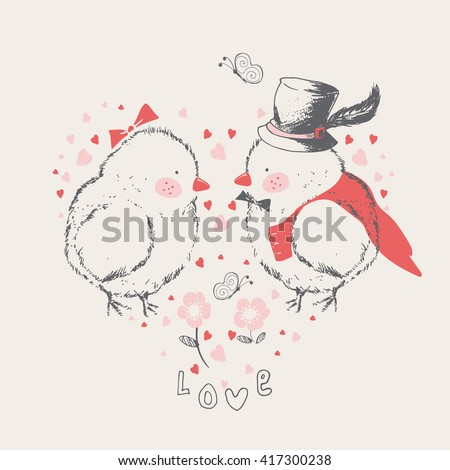 two chicks/male/ female/lady/gentleman/can be used for kid's or baby's shirt design/fashion print design/fashion graphic/t-shirt/kids wear - stock vector