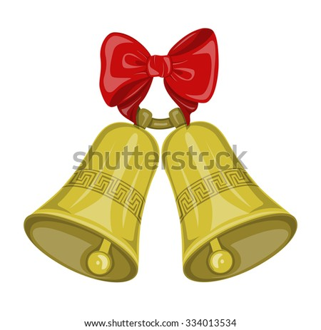 Two Christmas bells golden color on the ring   with decorative ornament  and  red bow on the white background. Symbol Christmas holiday. - stock vector