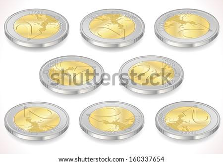 2 Two Euro Coin Icon - stock vector