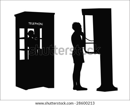 two public phone silhouette - stock vector