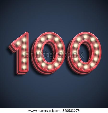'100' typography, vector - stock vector