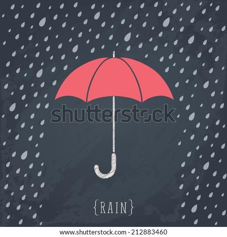 Umbrella on Black chalkboard. Retro background with rain. - stock vector