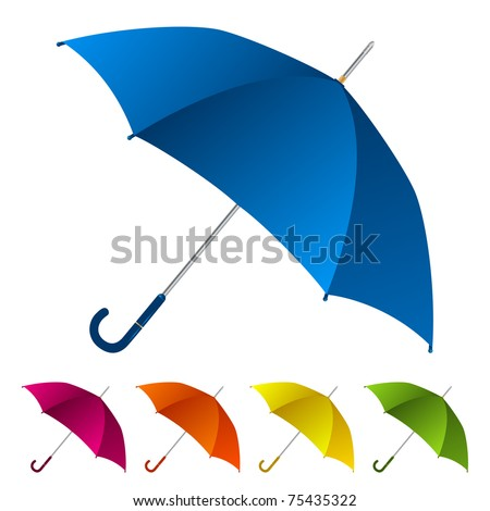 Umbrellas set - stock vector