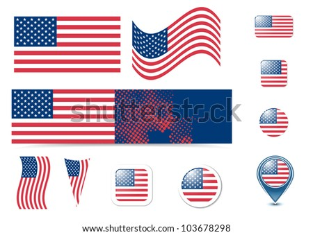 United States of America flag and buttons set, eps10 vector illustration