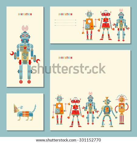 4 universal cards with multi-colored robots. Template. Birthday, anniversary, children's party, invitation, special event. Vector illustration - stock vector