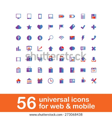 56 universal colorful icons for web and mobile. - stock vector
