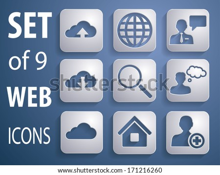 9 Universal 3D Icons for Web, Mobile, business and communication  - stock vector