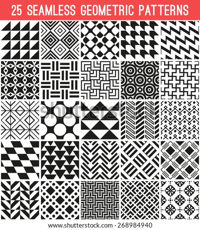 25 Universal different vector patterns. Endless texture can be used for wallpaper, pattern fills, web page background,surface textures. Set of monochrome geometric ornaments. - stock vector