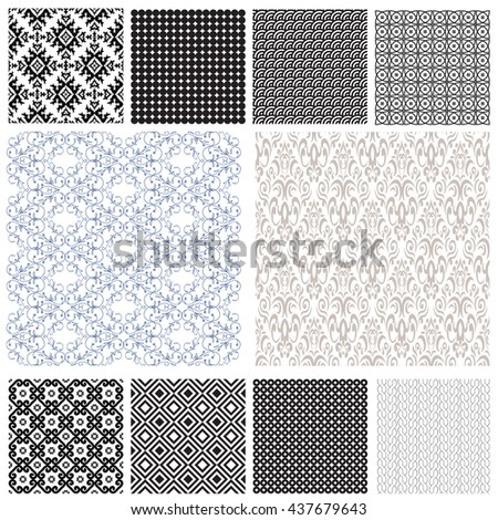 10 Universal different vector seamless patterns (tiling). Endless texture can be used for wallpaper, pattern fills, web page background,surface textures.