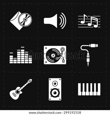 9 universal flat music icons - stock vector
