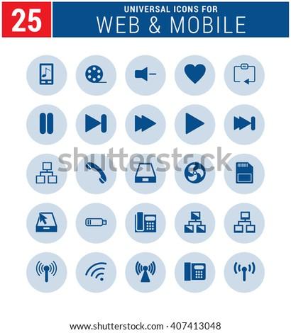 25 Universal icon set. simple pictogram minimal, flat, solid, mono, monochrome, plain, contemporary style. Vector illustration web internet design elements  - stock vector