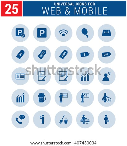 25 Universal icon set. simple pictogram minimal, flat, solid, mono, monochrome, plain, contemporary style. Vector illustration web internet design elements  - stock vector