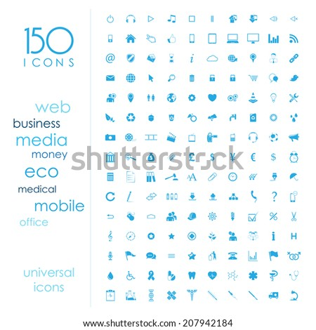 150 universal icons  - stock vector