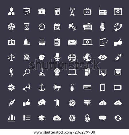 64 Universal icons for web and app. Elegant flat vector icons for business - stock vector