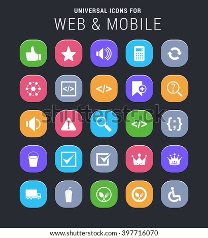 25 universal icons for web and mobile - stock vector