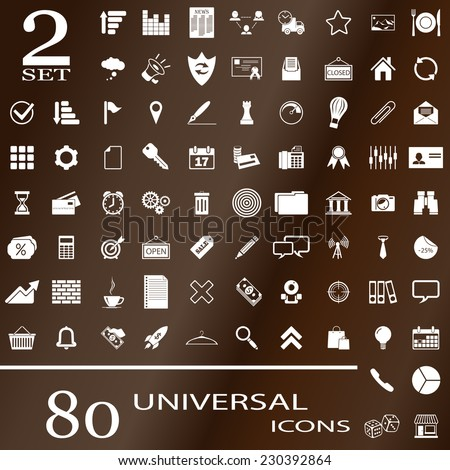 80 universal icons for websites. Set 2. - stock vector