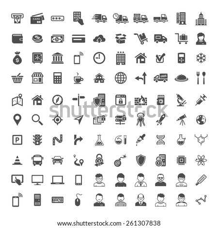 100 Universal Icons. Simplus series. Each icon is a single object - stock vector