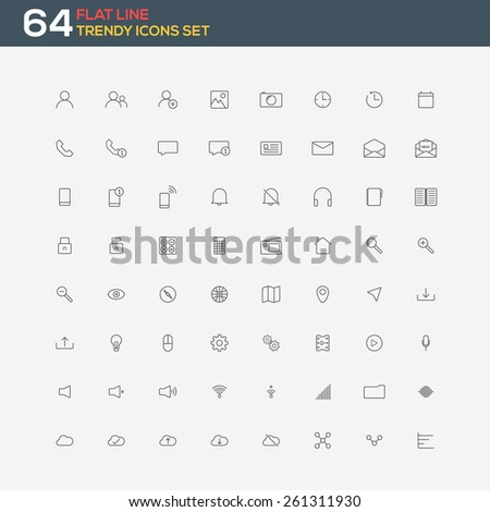 Universal modern thin line icons for web and mobile. Vector - stock vector