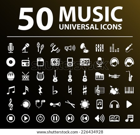 50 Universal Standard Elegant High Quality White Music Icons on Black Background. - stock vector