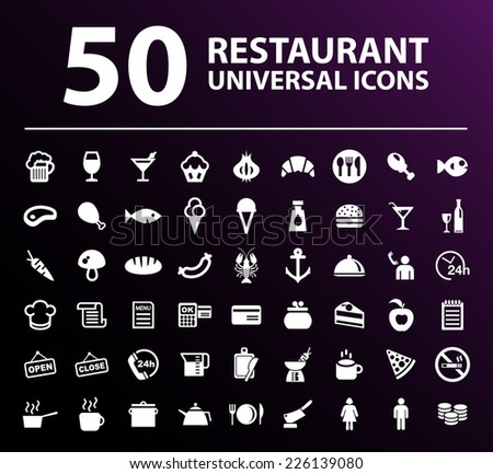 50 Universal Standard White Restaurant Icons on Black Background. - stock vector