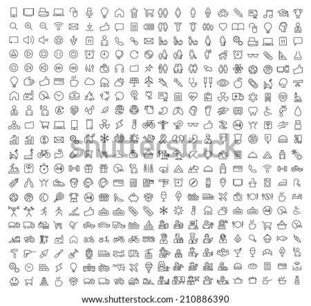 400 Universal Thin Line Black Icons on White Background ( Business , Multimedia, Education, Ecology, Medical, Fitness, Family, Construction, Transport, Professions, Travel, Restaurant, Hotel ) - stock vector