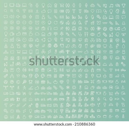 400 Universal Thin Line White Icons on Color Background ( Business , Multimedia, Education, Ecology, Medical, Fitness, Family, Construction, Transport, Professions, Travel, Restaurant, Hotel ) - stock vector