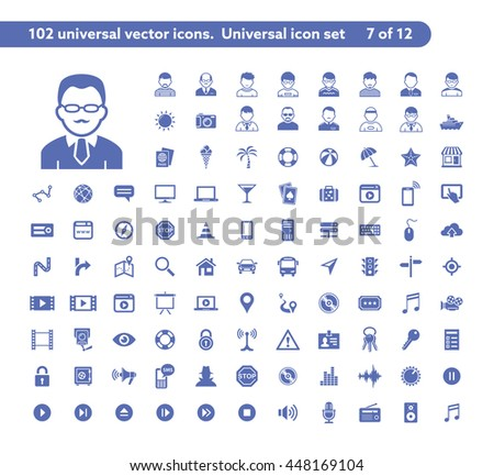 102 universal vector icons. The icon set includes User and People, Internet and Network, Travel and Transport, Music and Media symbols - stock vector