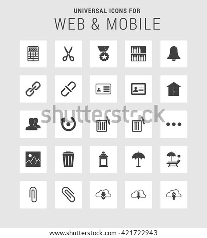 25 Universal web and mobile icon set. A set of 25  flat icons for mobile and web.