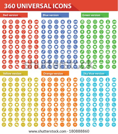 360 Universal Website Icons,6 Colors,vector - stock vector