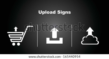 3 Upload Icons on Black Background. - stock vector