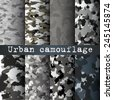 8 Urban camo patterns set vector - stock vector