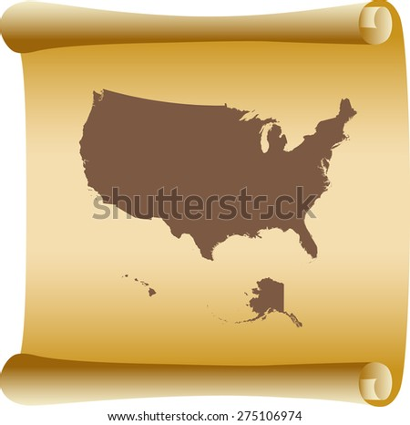 USA map on old scroll paper - stock vector