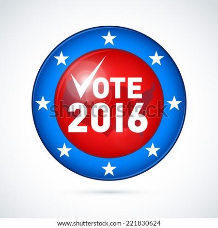 2016 USA presidential election button. EPS 10 - stock vector