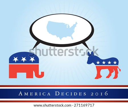 2016 USA presidential election poster or sticker, with a map of the US in the middle. Vector file available.