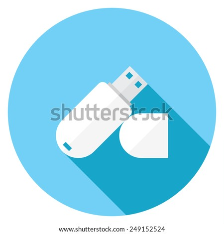 USB flash drive flat icon. Modern flat icons with long shadow effect in stylish colors. Icons for Web and Mobile Application. EPS 10. - stock vector