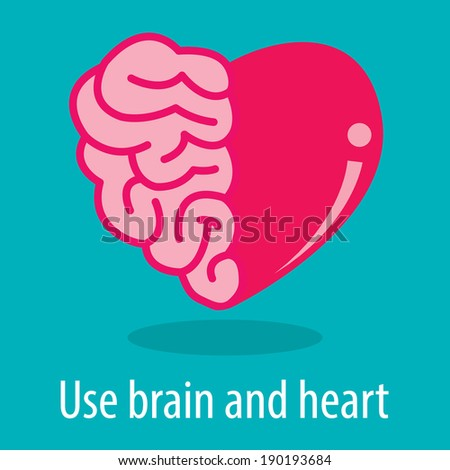 Use brain and heart vector illustration. Success concept - stock vector