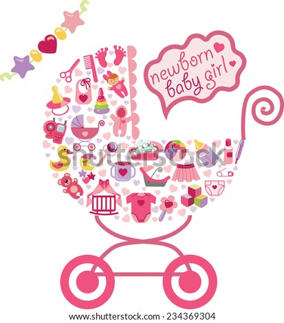 Ã?Â??ute Newborn icons set for Baby girl.Composition in form of carriage.Baby shower cartoon design elements.Poster,card,invitation,template.New born baby infographic.Vector - stock vector