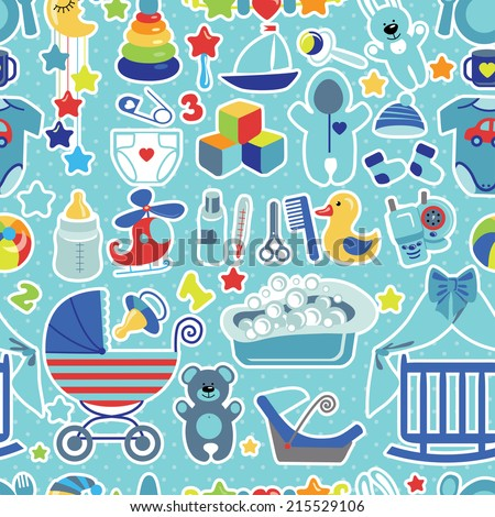 Newborn seamless pattern flat icons set baby stock vector 2018 flat icons set for baby boy voltagebd Image collections