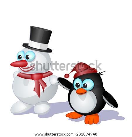 ?ute  penguin and  snowman on  white background - stock vector