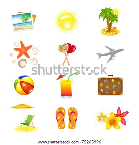 12 Vacation  And Travel Icons, Isolated On White Background, Vector Illustration - stock vector