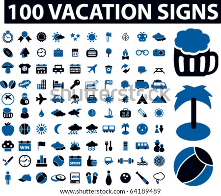 100 vacation signs. vector