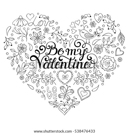 Valentines card with heartsbutterfliesflowers and other elements be my valentine inscription