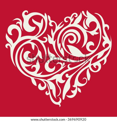 Valentine's day card. Pattern in the form of heart. Floral heart. Tracery heart. Vector. - stock vector