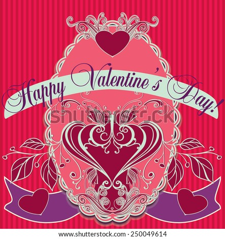 Valentine's day holiday card design. - stock vector