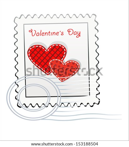 Valentine's Day-themed stamp isolated on white - stock vector