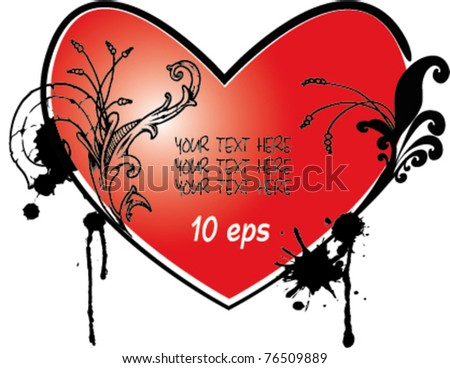 Valentines Day grunge background with Hearts, element for design, vector illustration