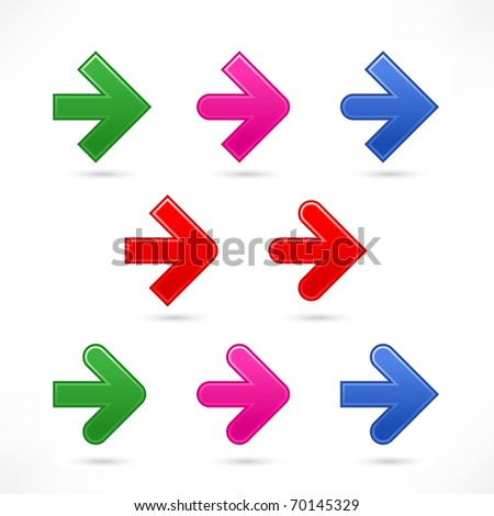 9 variations arrow web 2.0 icons. Color satined shapes with shadow on white background - stock vector