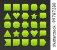 25 variations form green button with light stripes. Satin shapes with shadow on perforated metal seamless texture black background. Vector 10 eps. See more web internet design elements in my gallery - stock photo